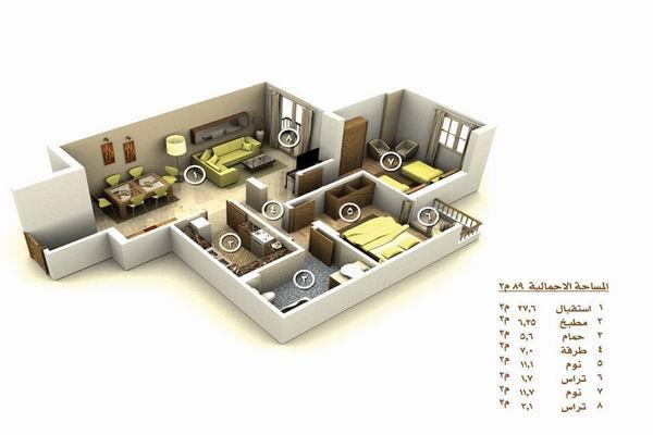 شقة بمساحة 75 متر شقة بمساحة 195 متر شقة
